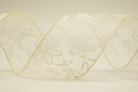 Delicate White Flowers Organza Ribbon - Delicate White Flowers Organza Ribbon