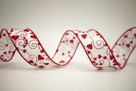 Red Hearts White Satin Ribbon - Red Hearts White Satin Ribbon