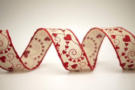 Red Hearts Faux Burlap Ribbon - Red Hearts Faux Burlap Ribbon