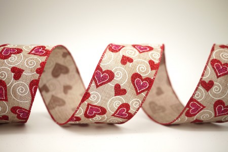 Swirl & Red Hearts Ribbon - Swirl & Red Hearts Ribbon