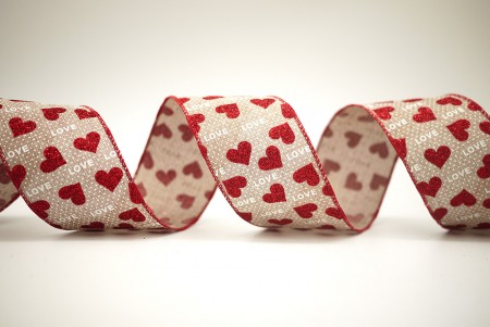 LOVE, Dots & Red Hearts Ribbon - LOVE, Dots & Red Hearts Ribbon