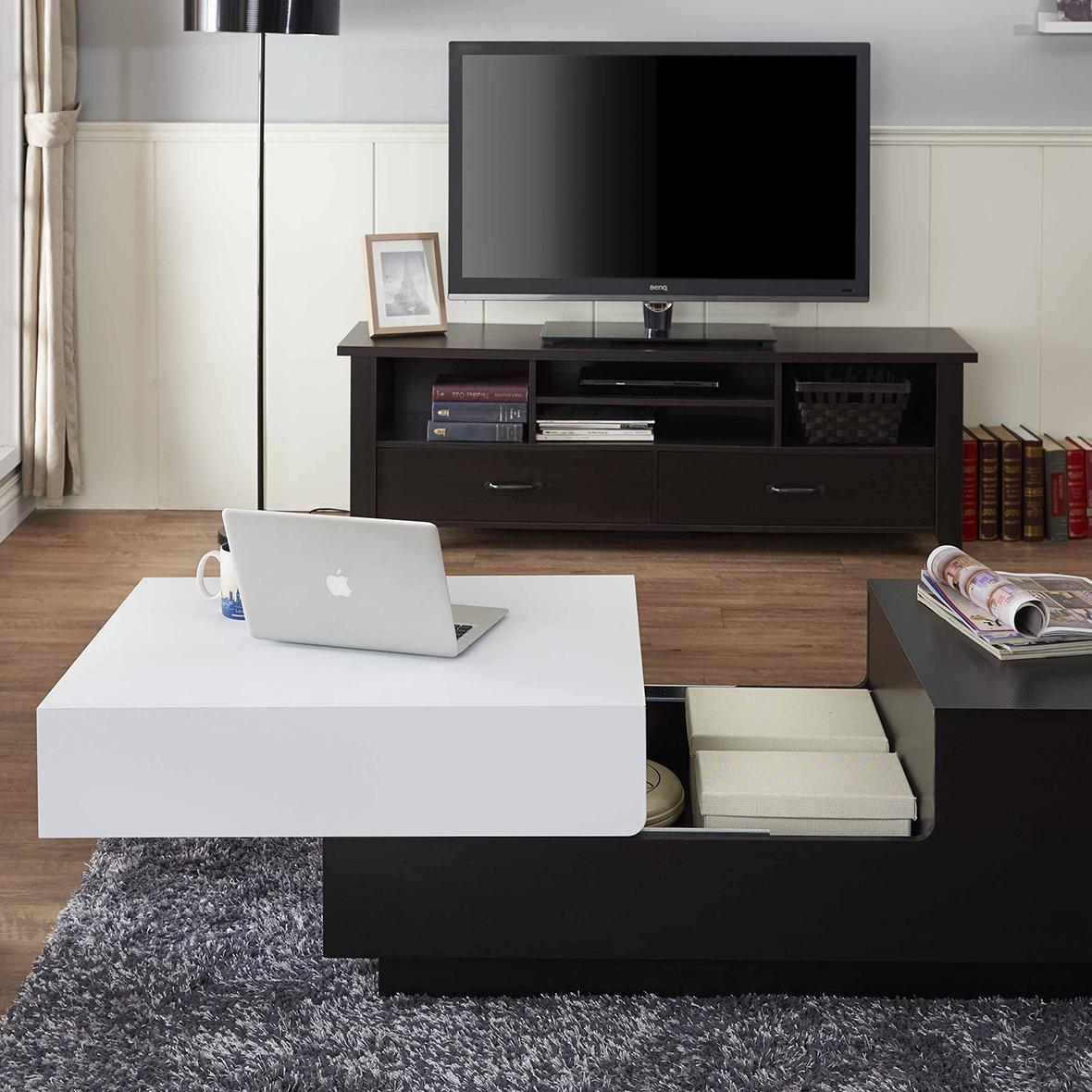 Mesa de sala cuadrada en blanco y negro | Fabricantes de muebles ...
