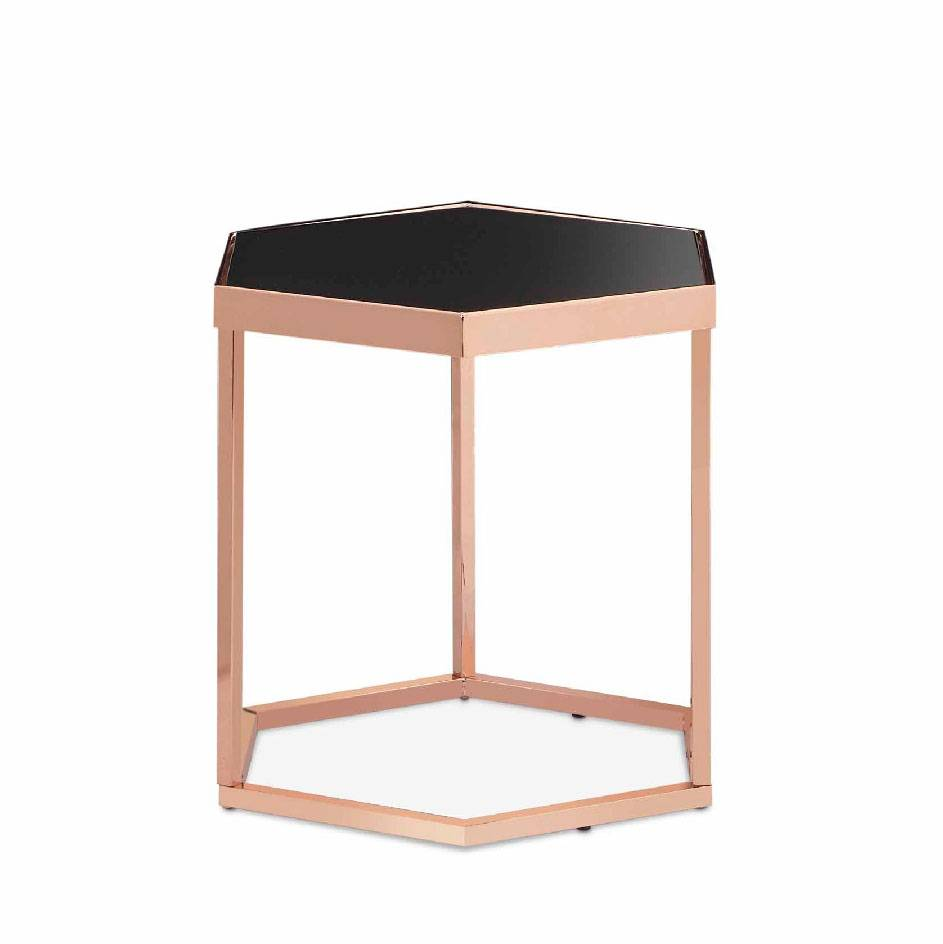 Hexagonal Black Glass Rose Gold Exquisite Side Table Size Specification