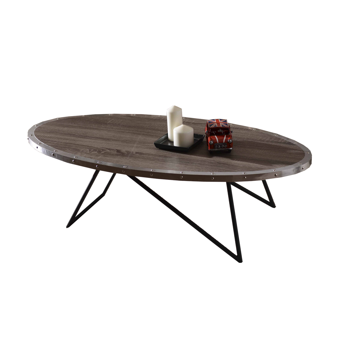 Weathered White Color Oval Shaped Coffee Table