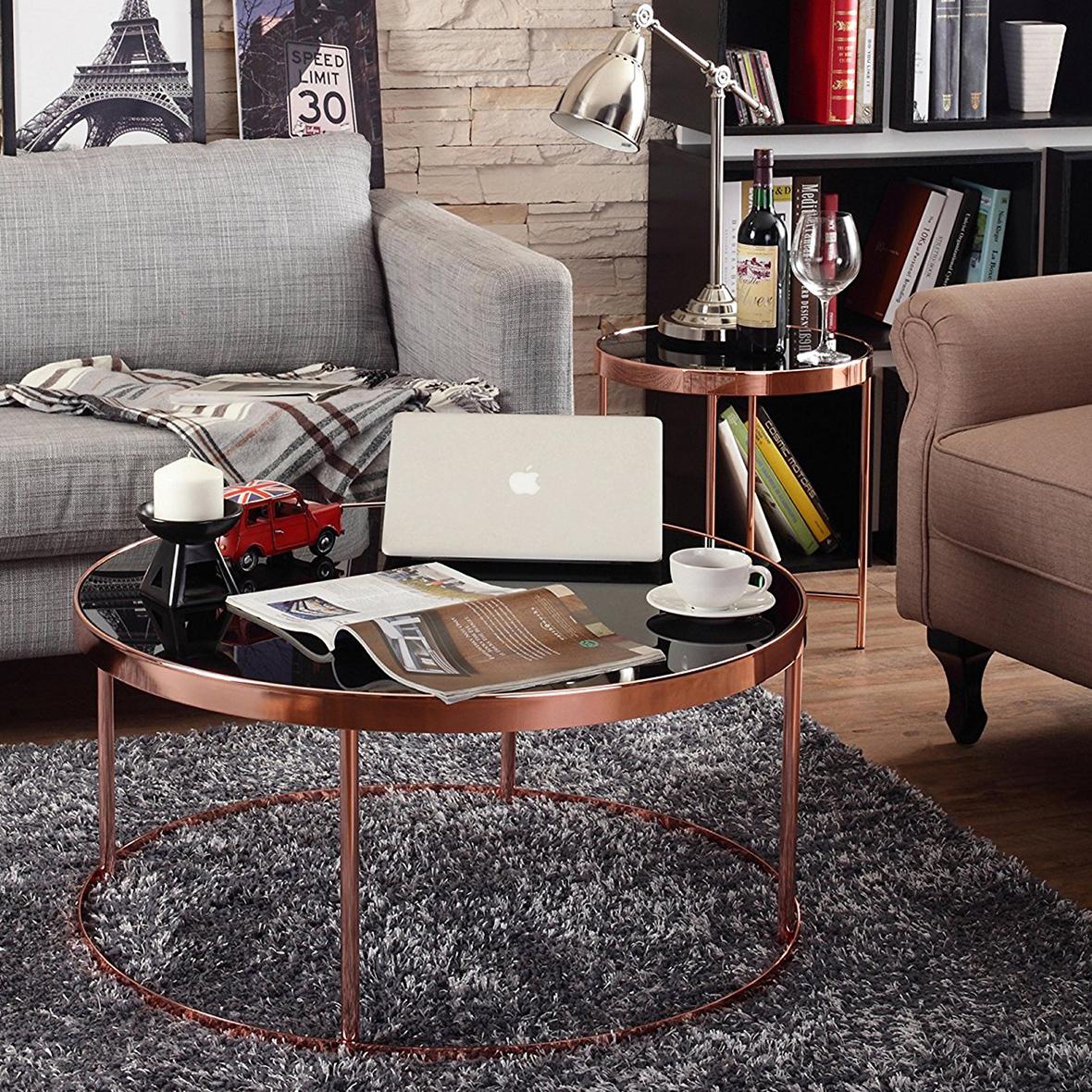 Mesa de centro redonda color oro rosa   Fabricantes de muebles para ...