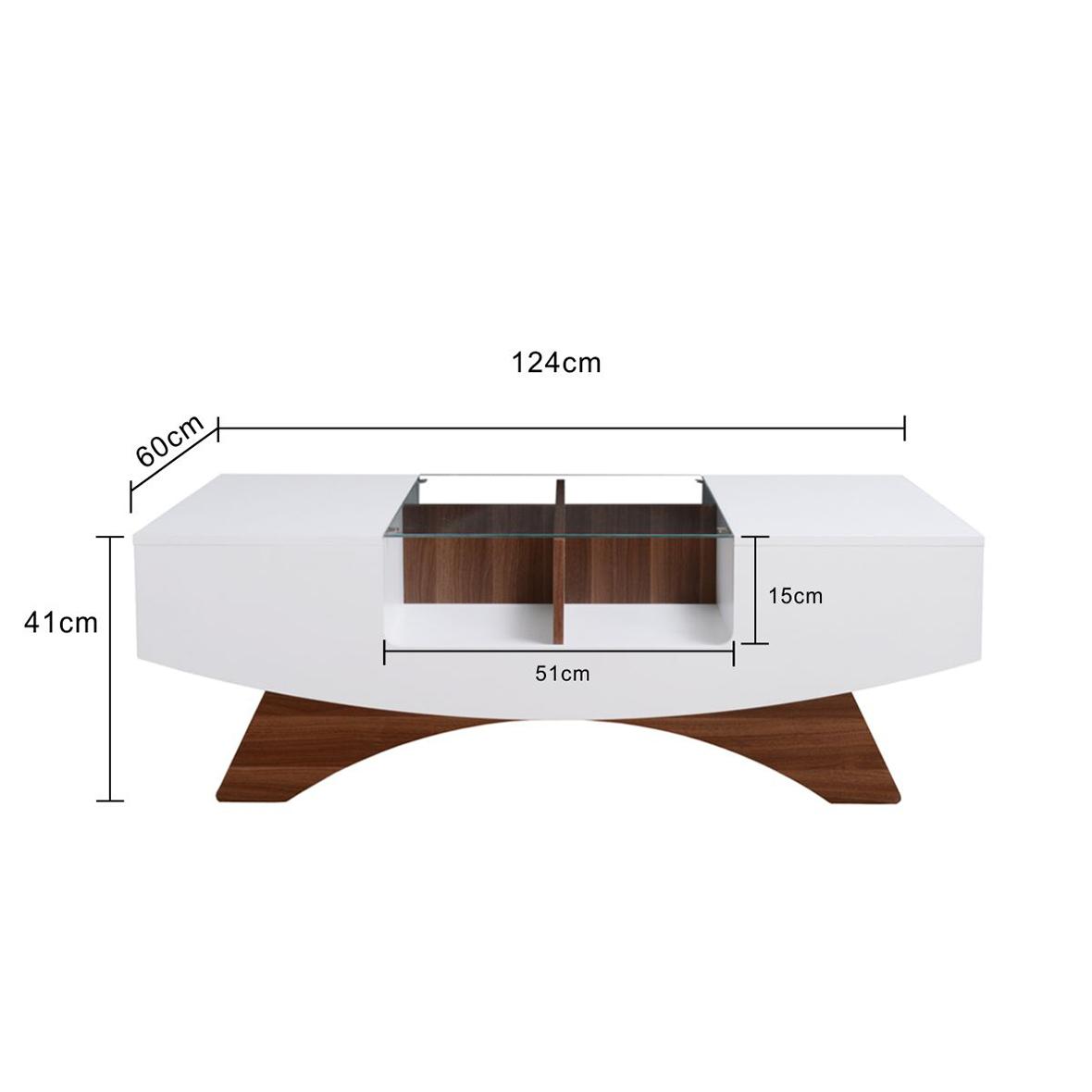 Mesa de centro blanca con tapa de cristal | Fabricantes de muebles ...