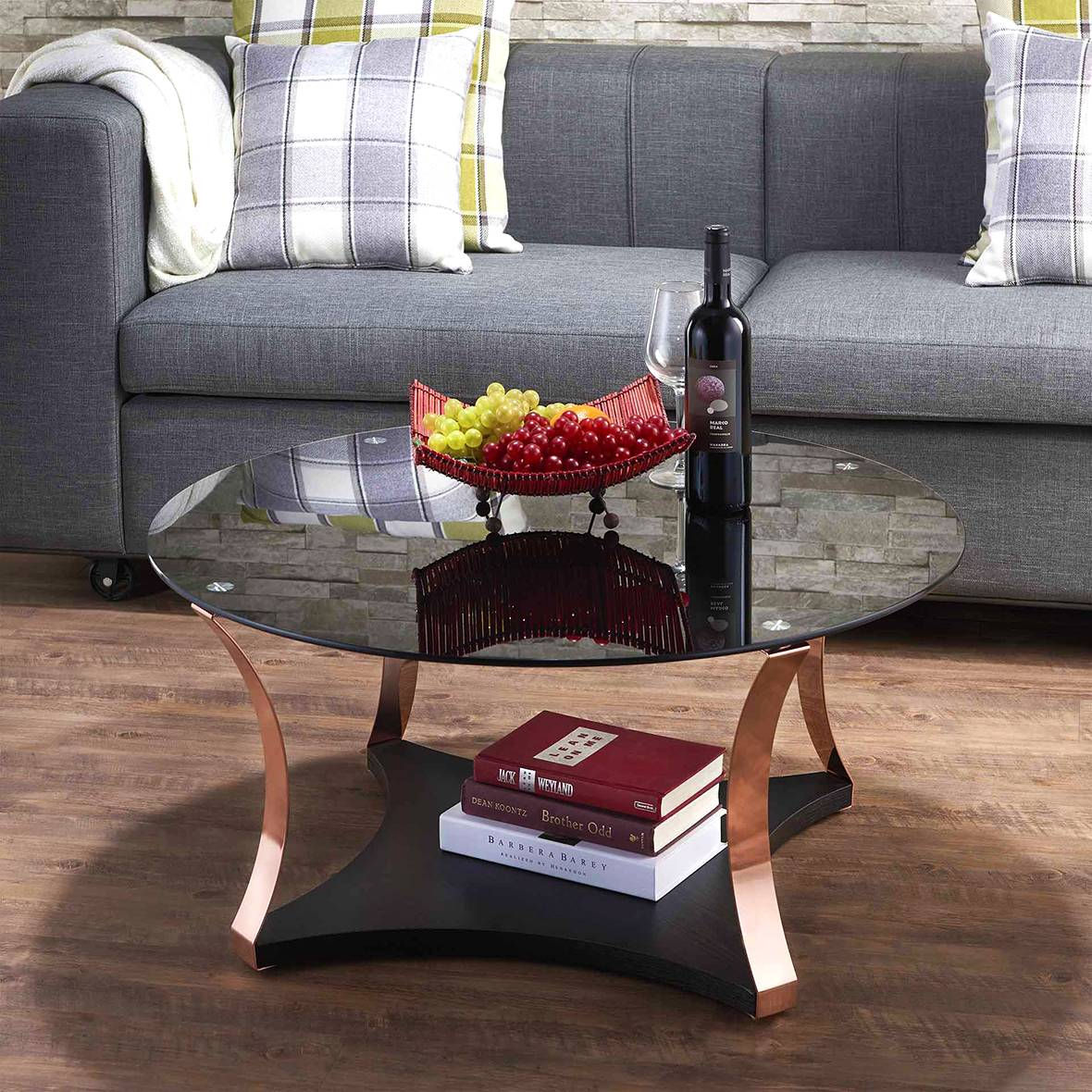 Golden rose and black glass tabletop coffee table | Home Furniture ...