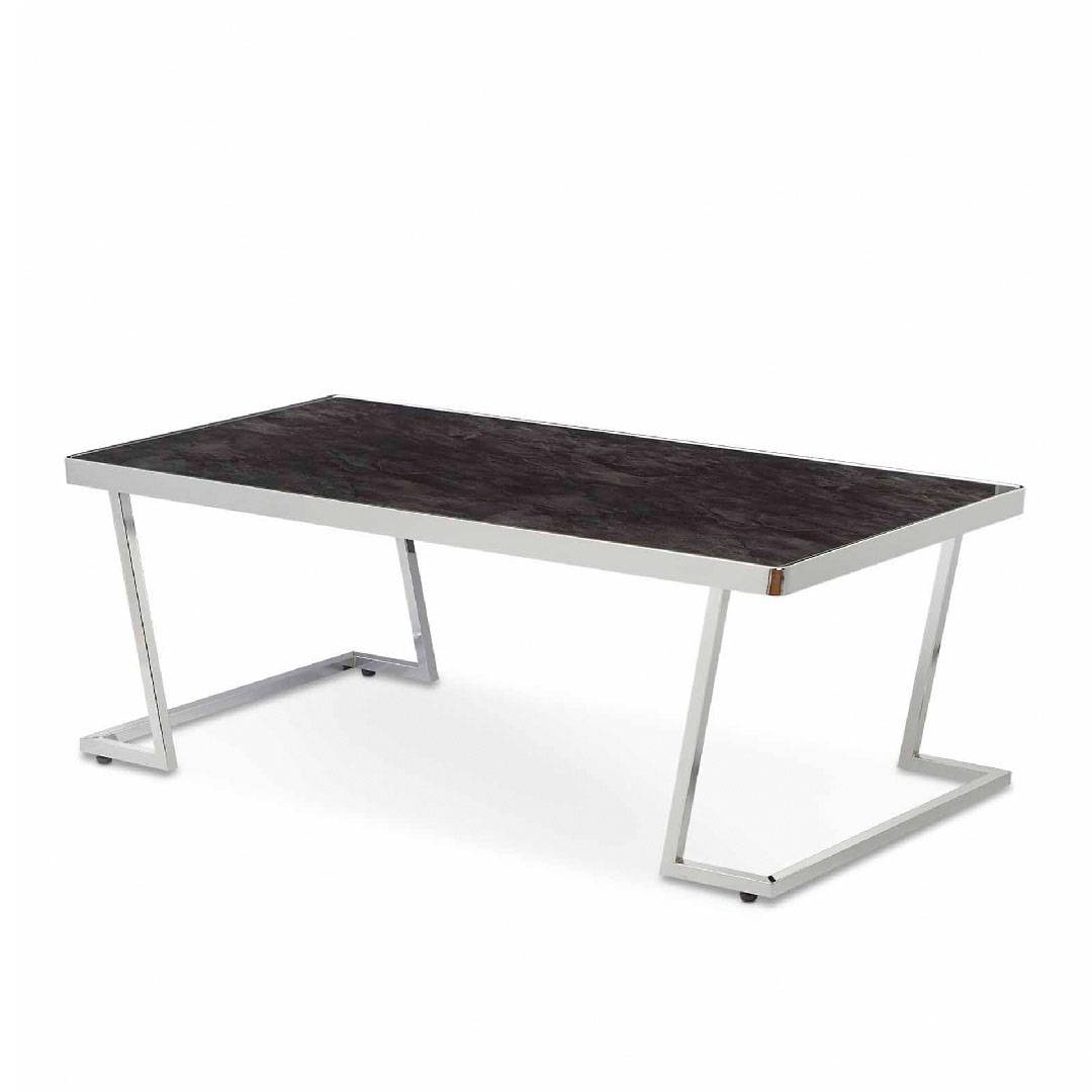 L Shape Metal Post Legs And Black Glass Tabletop Coffee Table Home