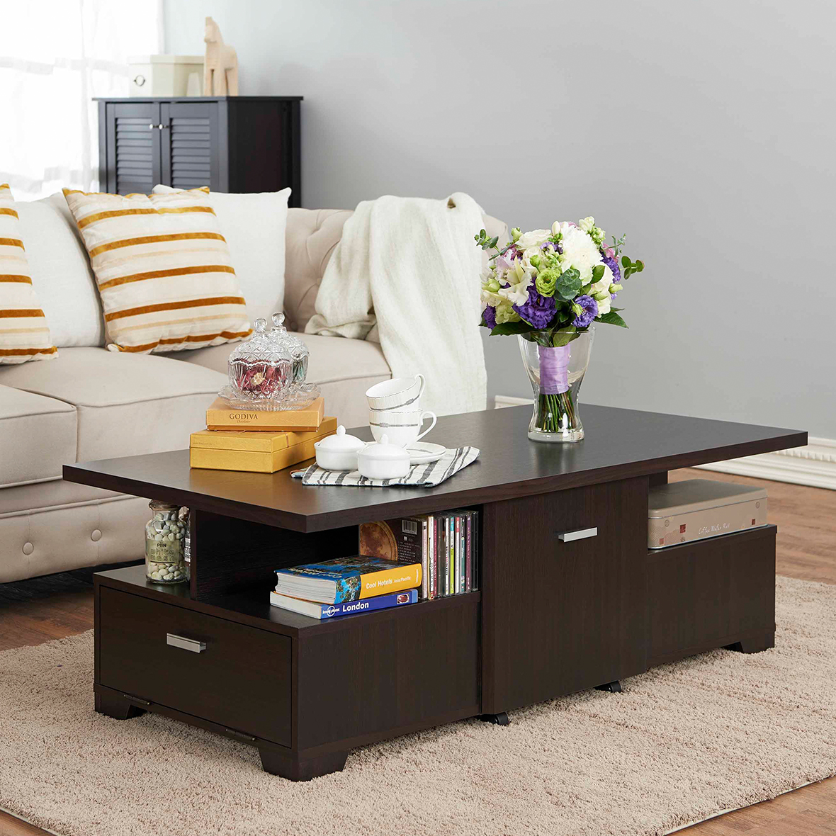 Movable Disassembly Storage Coffee Table