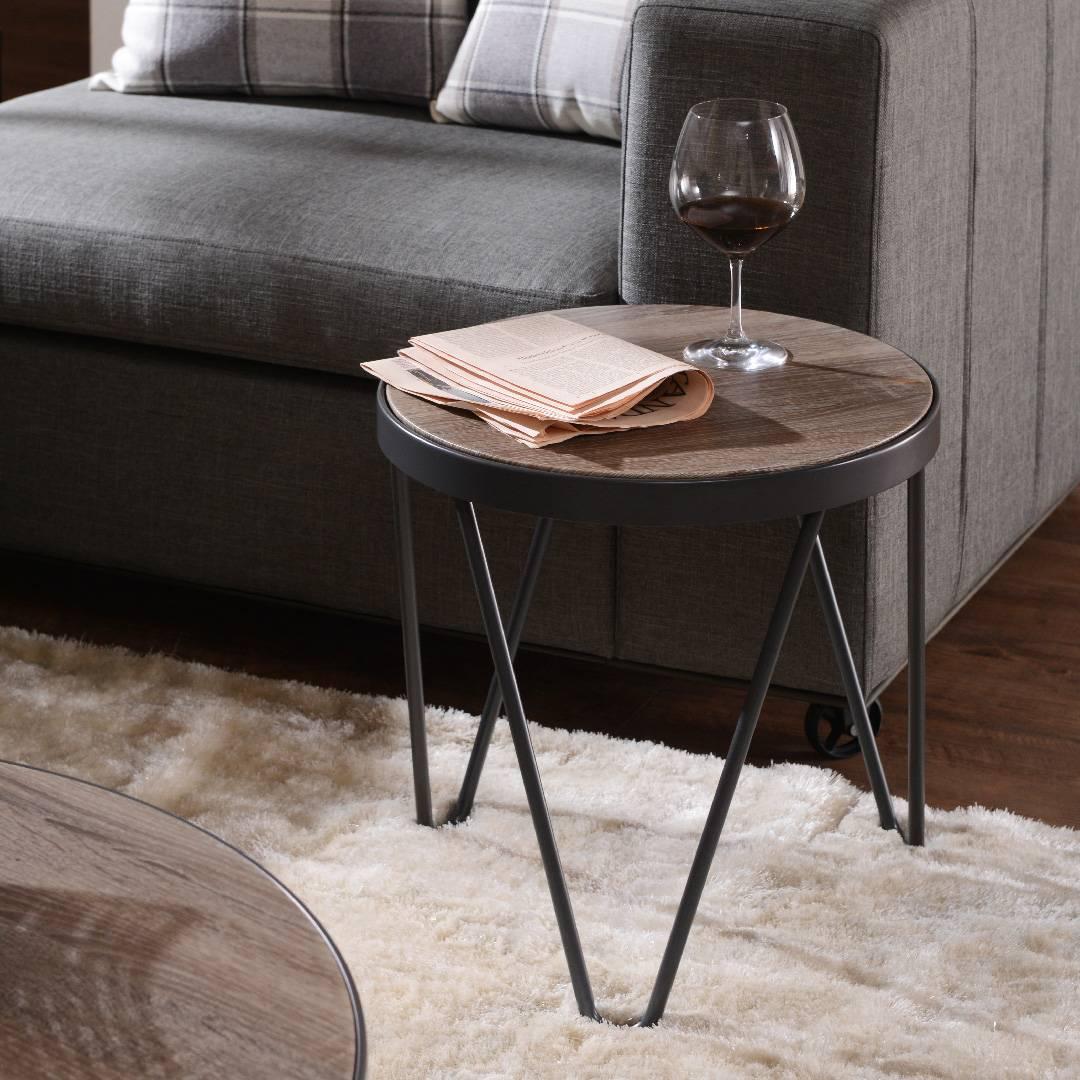 Léger table dappoint en bois vent industriel forme ronde