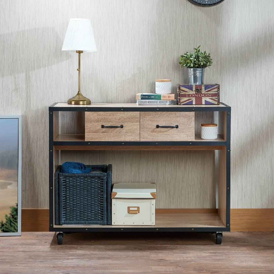 Warm Light Industrial Style Console Table, Your Best Home Storage Helper.