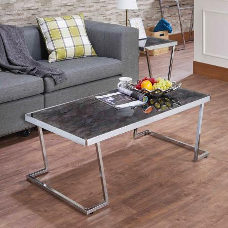 L Shape Metal Post Legs And Black Glass Tabletop Coffee Table
