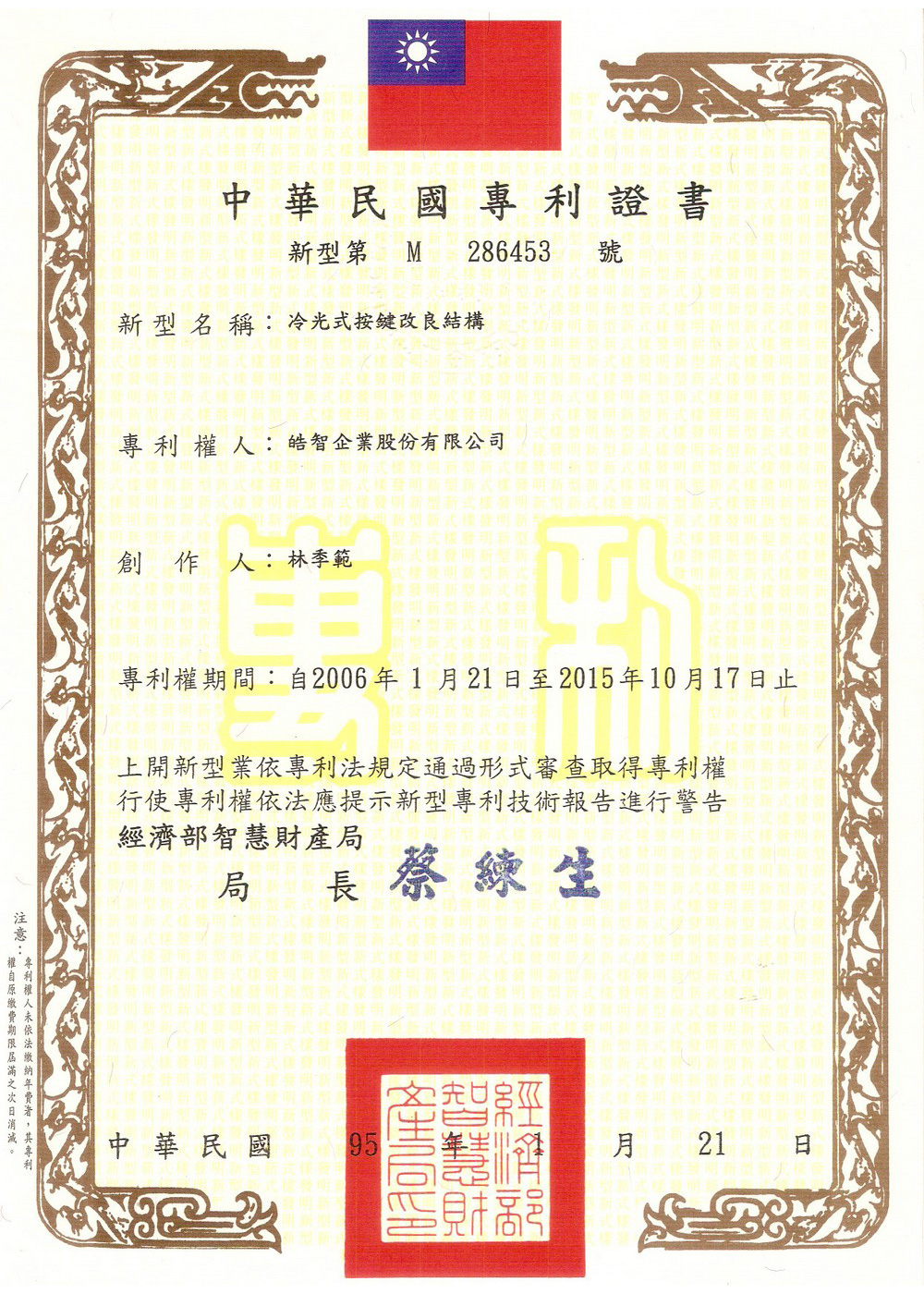 Patent Cochief Industrial Co Ltd