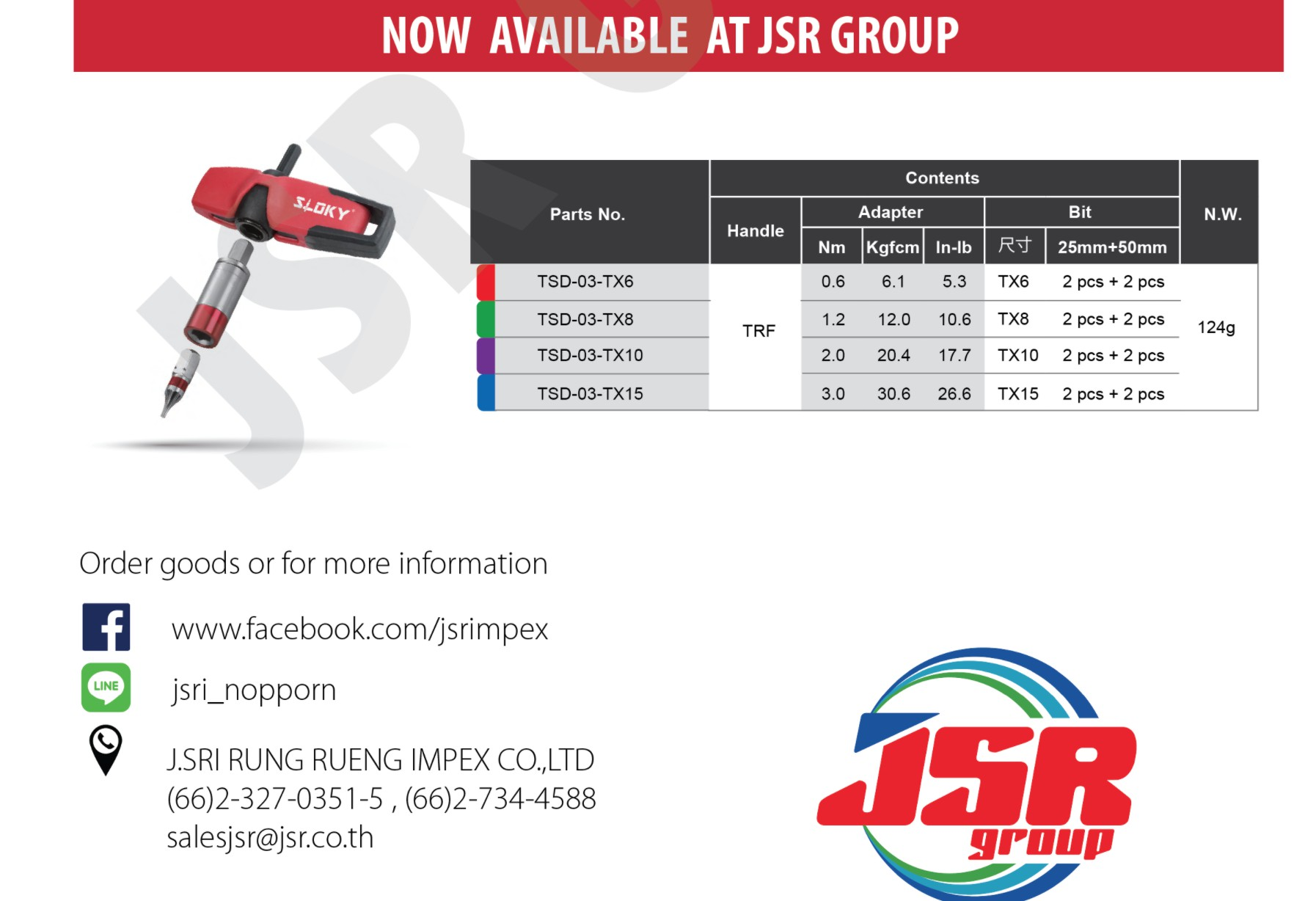 Sloky torque screwdriver promoted by JSR Group in Thailand; originally designed for CNC cutting tools of precision machining and milling.