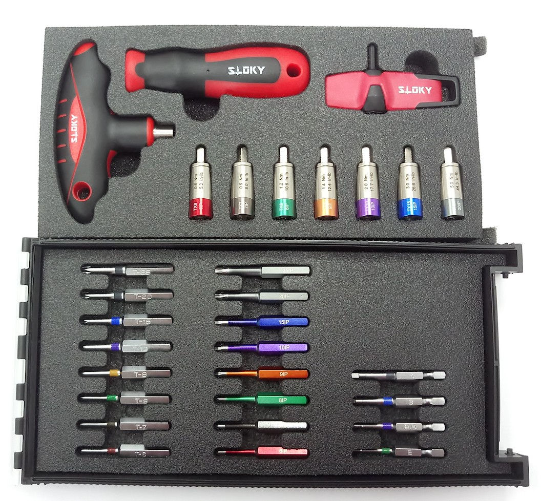 Master Kit Sloky torque screwdriver with bits of Hex, Torx and Torx Plus for different Nm torque adapters. User friendly for CNC cutting tool of machining, turning and milling.