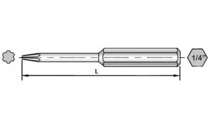 Dimensional Drawings of 50mm Torx Plus Bits for Sloky torque screwdriver (torque wrench). User friendly for CNC cutting tool of machining, turning and milling.