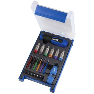 TSD-10-IP Sloky torque screwdriver with blue color identity; easy to distinguish from TX red for CNC machining inserts application