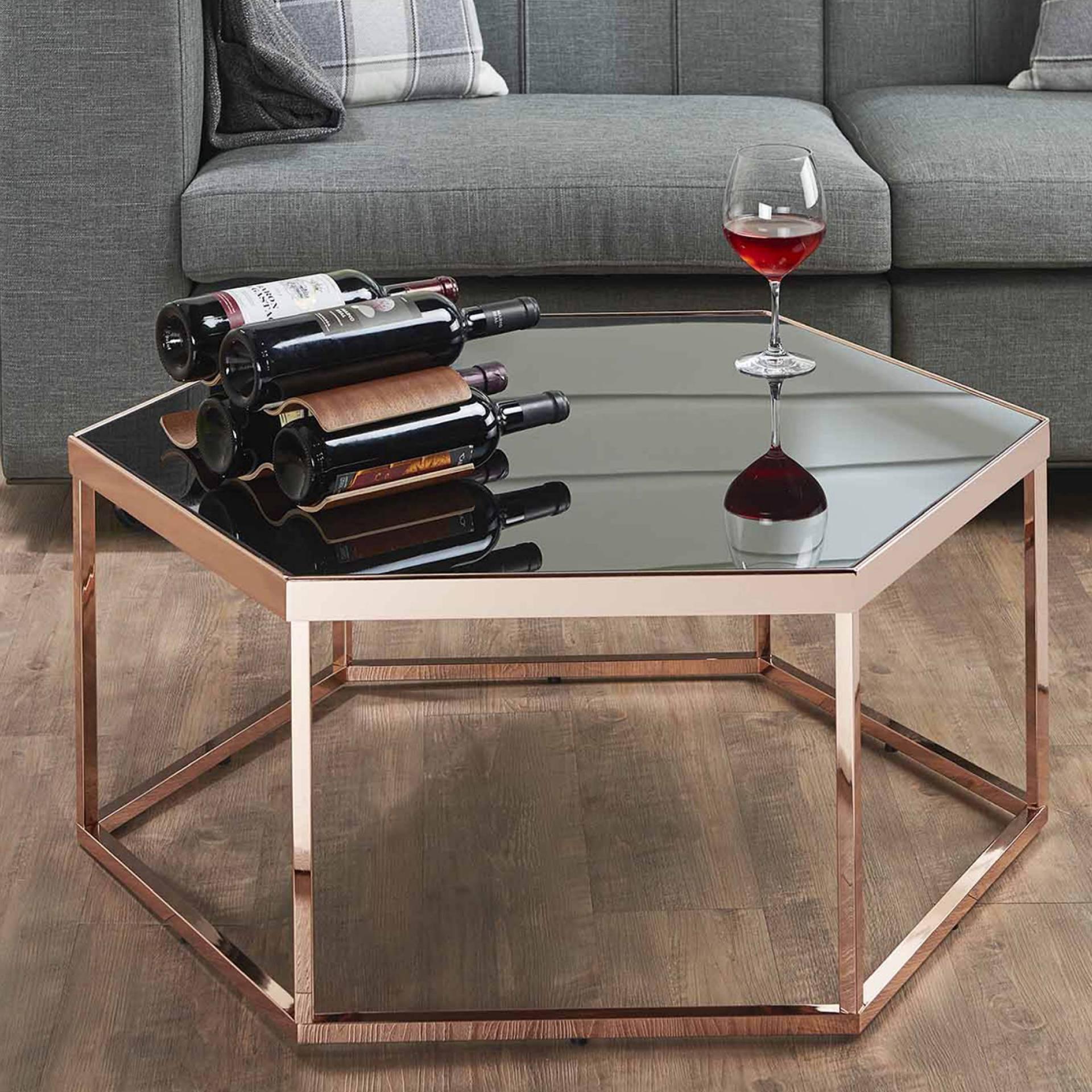 Hexagonal Black Glass Coffee Table Safe Green Furniture Supplier Slicethinner