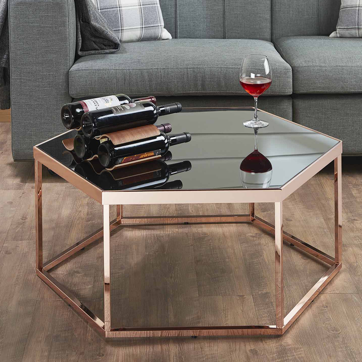 Rose Gold Color Coffee Table Hexagon Black Gl Tabletop