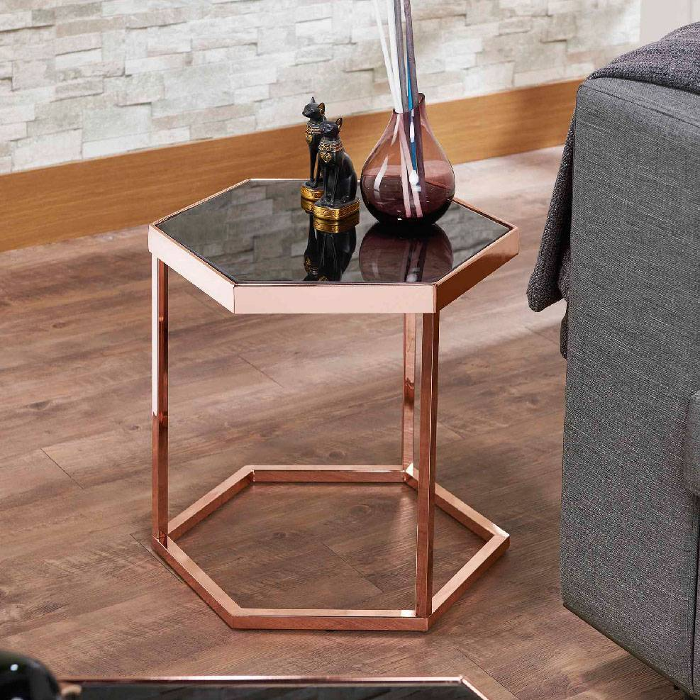 Groovy Hexagonal Black Glass Rose Gold Exquisite Side Table Supply Gmtry Best Dining Table And Chair Ideas Images Gmtryco