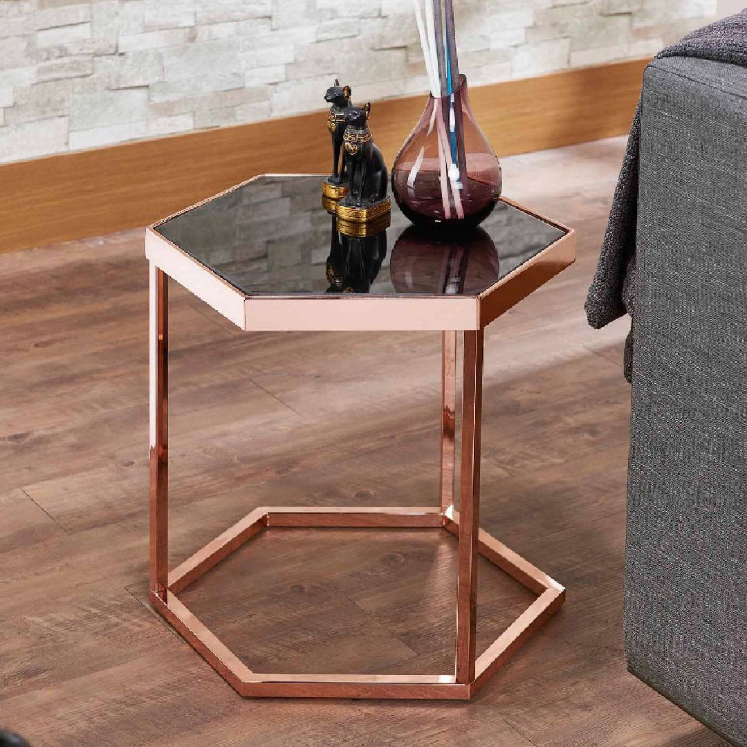 Picture of: Hexagonal Black Glass Rose Gold Exquisite Side Table Safe Green Furniture Supplier Slicethinner