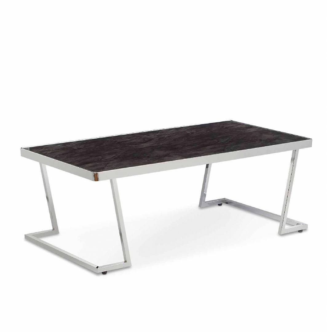 L Type Black Glass Tabletop Coffee Table Safe Green Furniture Supplier Slicethinner