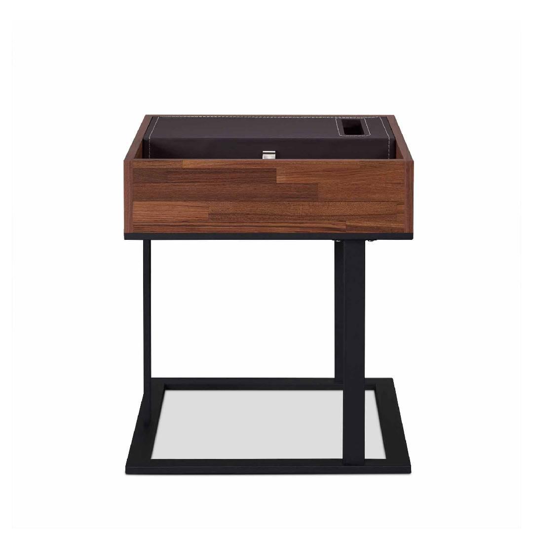 Picture of: Modern Leather Reclaimed Teak Side Table Safe Green Furniture Supplier Slicethinner