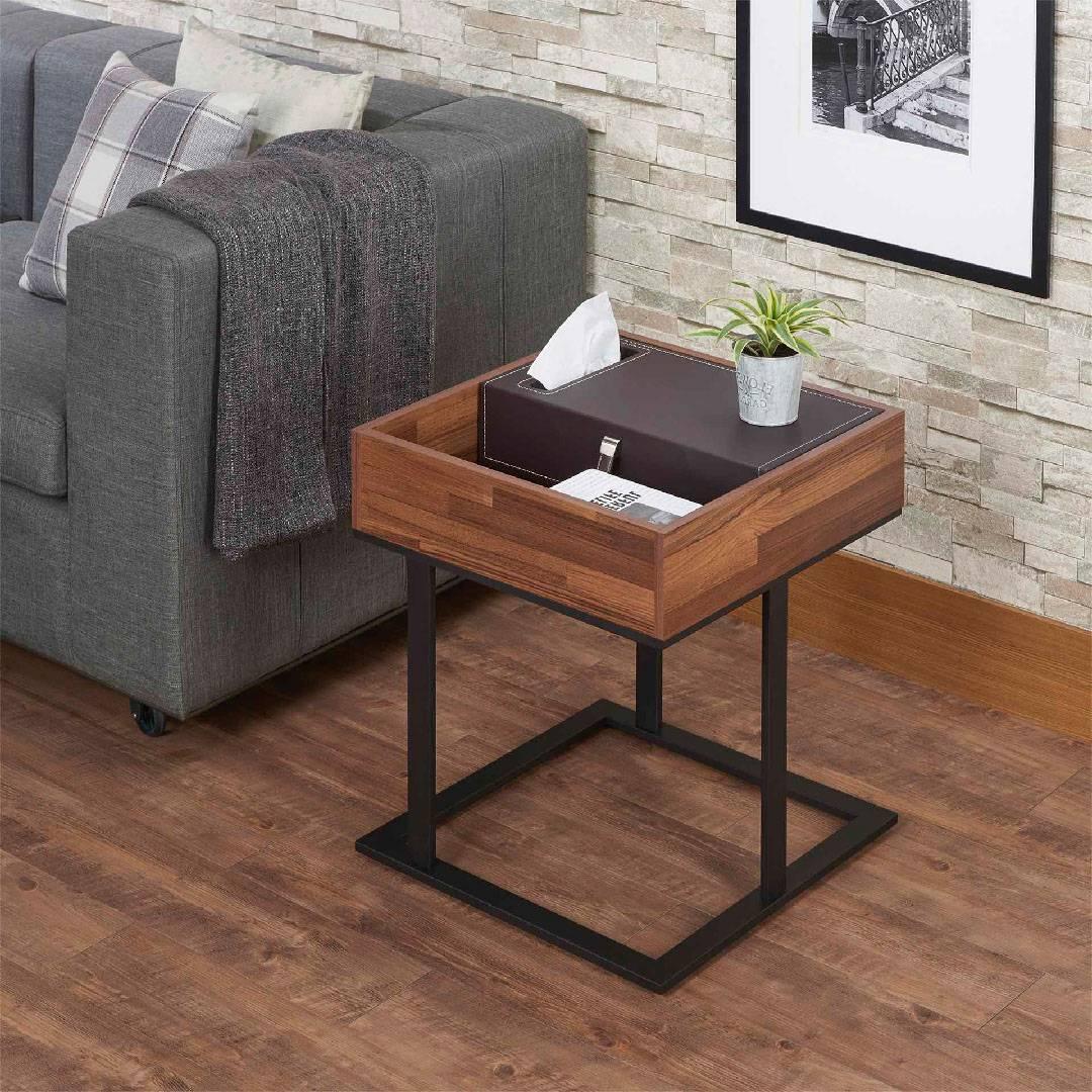 Modern Leather Reclaimed Teak Side Table Safe Green Furniture Supplier Slicethinner