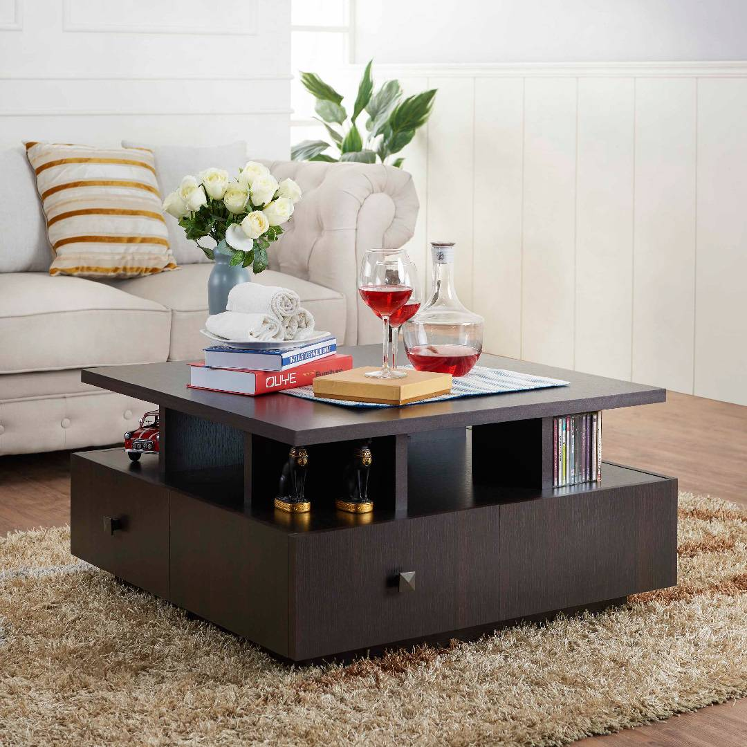 - Square Four Sides Drawers Coffee Table Research Development