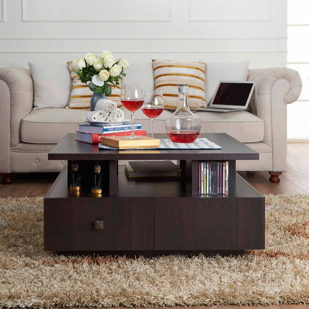 Square Four Sides Drawers Coffee Table Supply One Stop Eco