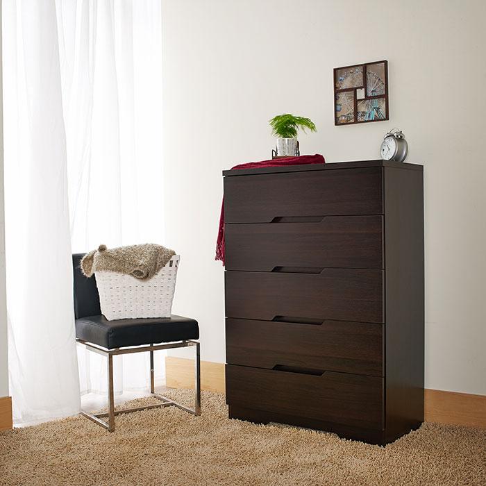Dark brown, bedroom, five drawers, handle mining groove shape, lockers.