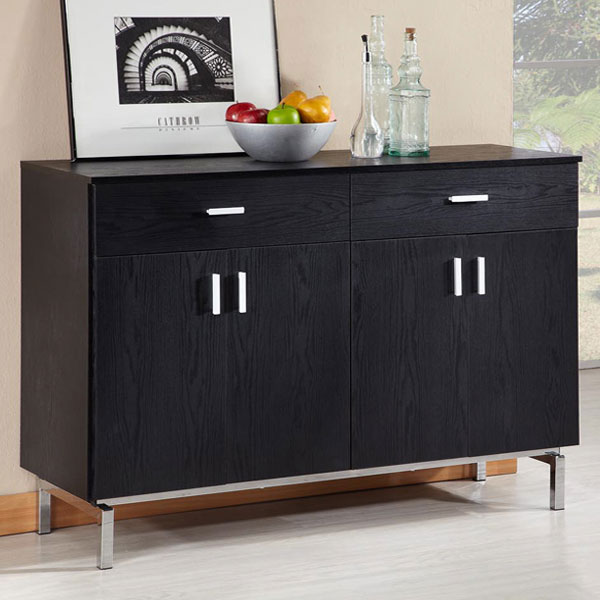 Two drawers, laminated storage space, metal feet, high-shaped cabinet, black, space sense.