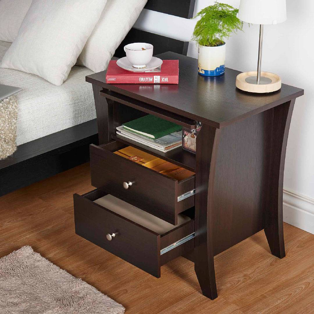Espresso Laminate 3 Layers Night Stand Supply. One Stop Eco
