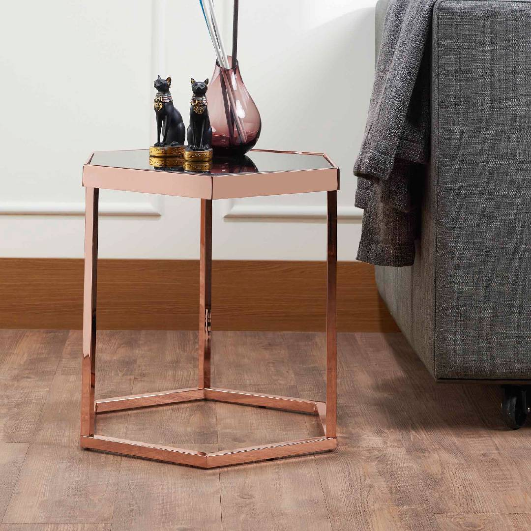 Miraculous Hexagonal Black Glass Rose Gold Exquisite Side Table Supply Gmtry Best Dining Table And Chair Ideas Images Gmtryco