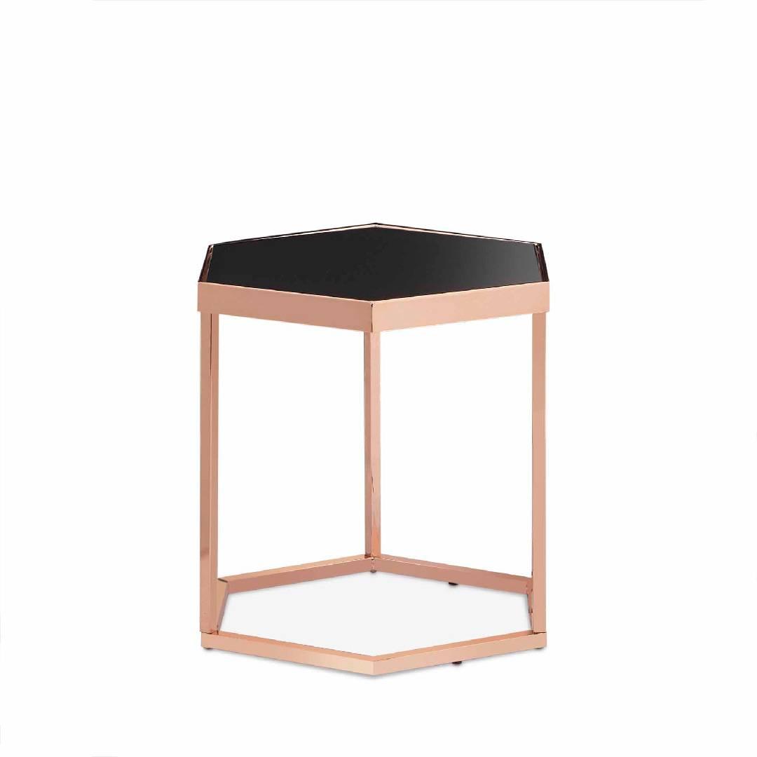 Hexagonal Black Glass Rose Gold Exquisite Side Table Safe Green Furniture Supplier Slicethinner