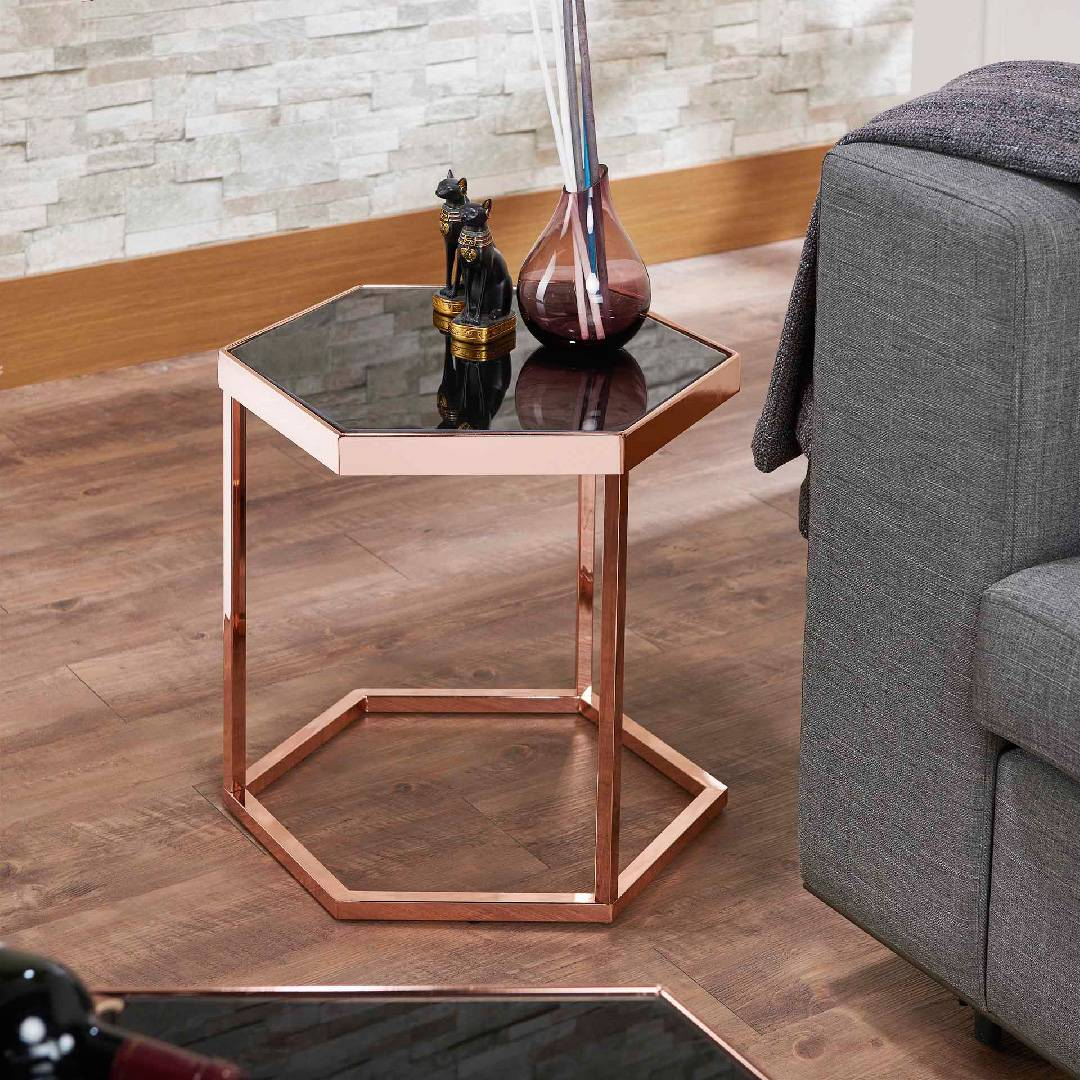 Table d'appoint hexagonale en verre noir or rose