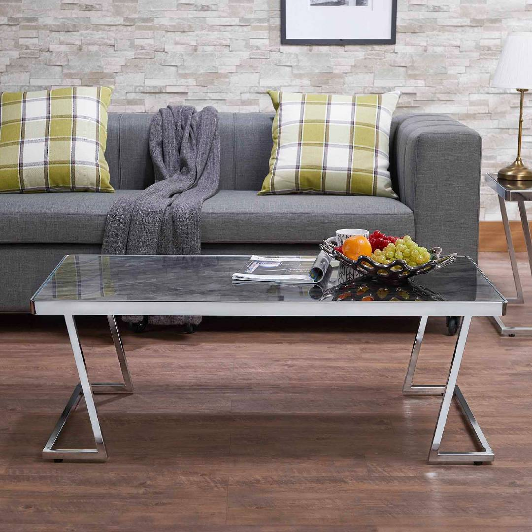 L Type Black Gl Tabletop Coffee Table Supply One Stop