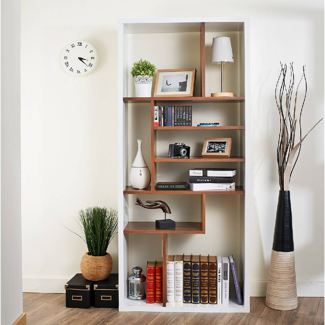 Geometric modeling bookshelves with drawers, for work in study office.