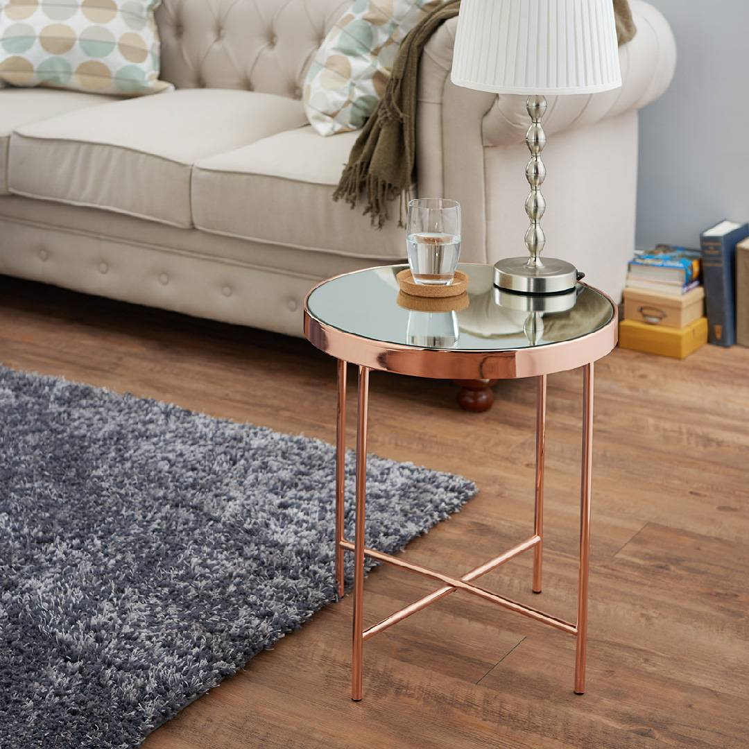 Surprising Modern Rose Gold Round Side Table Supply One Stop Eco Lamtechconsult Wood Chair Design Ideas Lamtechconsultcom