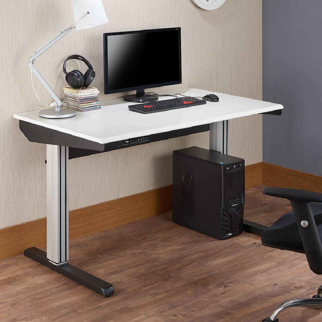 Office, desk, three drawers, dark brown, simple winds.