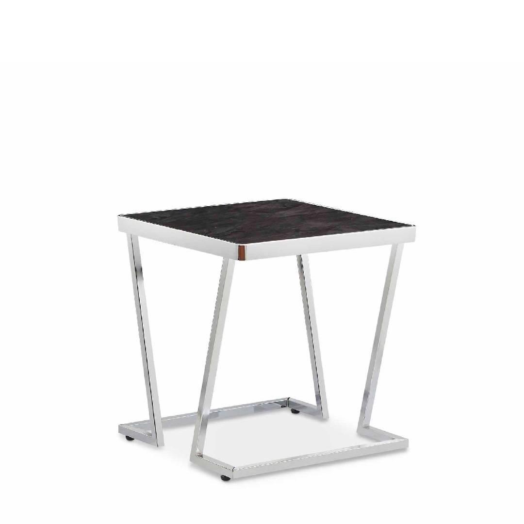 Picture of: V Shape Metal Post Legs Black Glass Side Table Safe Green Furniture Supplier Slicethinner