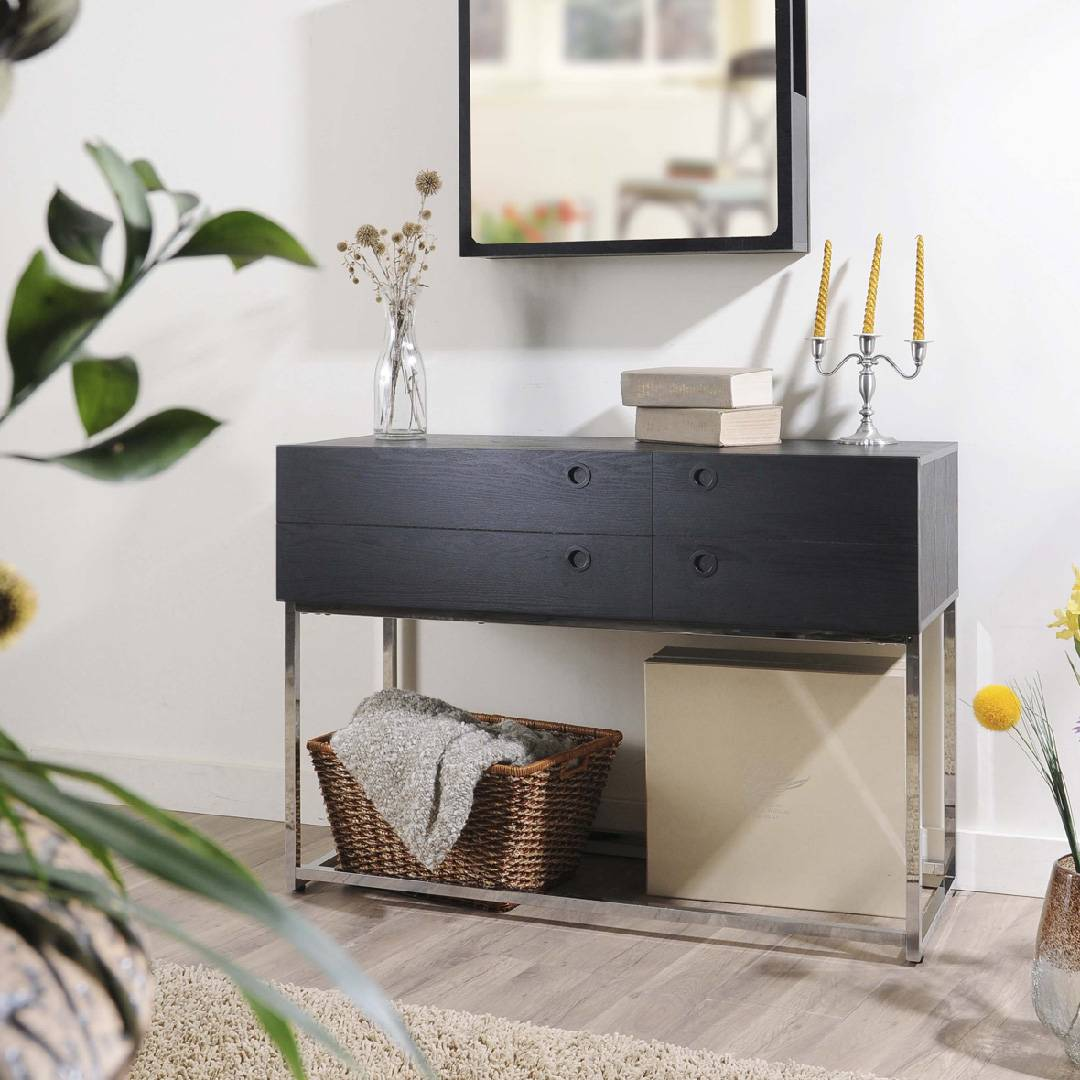 Picture of: High Quality Metal With Both Side Drawers Console Table Safe Green Furniture Supplier Slicethinner