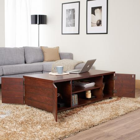 1.2m Vintage Walnut Laminate Broad Coffee Table - Rectangle industrial style coffee table