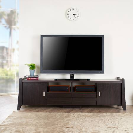 Подставка для телевизора с прямоугольной рамкой 1,8 м с несколькими отсеками для хранения - Тумбы под ТВ в современном стиле.