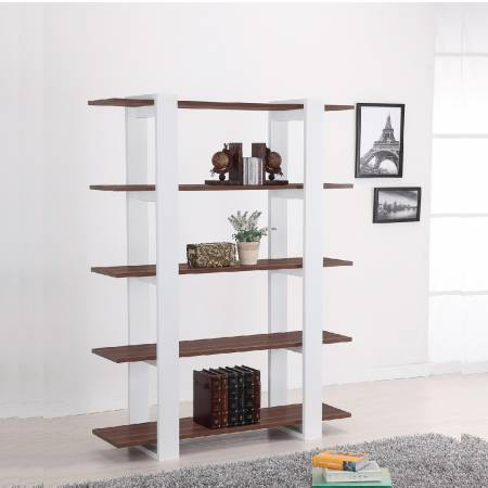 5 Layers Vintage Walnut Lamintae Modern Bookshelf - Easy and nice lines build a modern 5 layers bookcase, vintage walnut laminate
