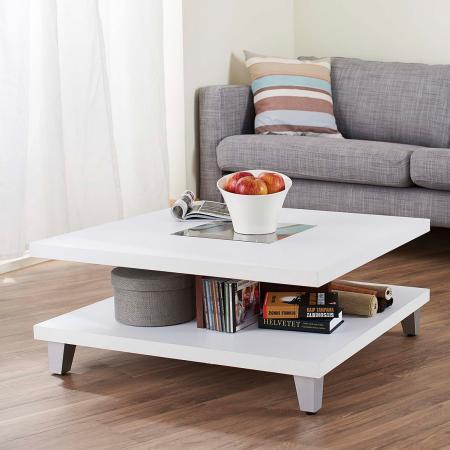 80cm Easy Assembly Square Coffee Table - The center of the glass as a perspective