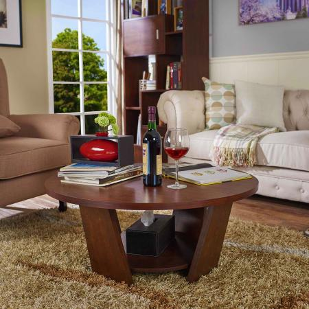 Double layer round tabletop coffee table