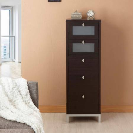 Five Layer Toughened Glass Lockers - Dark texture five-storey storage cabinet