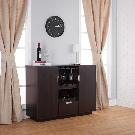 Wine Cabinet - 12 bottles placed in the slot, vertical rectangular wine cabinet, dark brown, living room, removable, built glass holder.