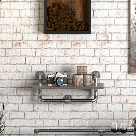 Industrial Distressed Silver Pipe Wall Hanging Shelf - Industrial Distressed Silver Pipe Wall Hanging Shelf